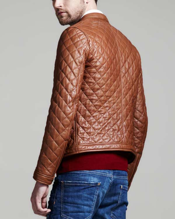 dsquared brown quilted leather bomber jacket for men