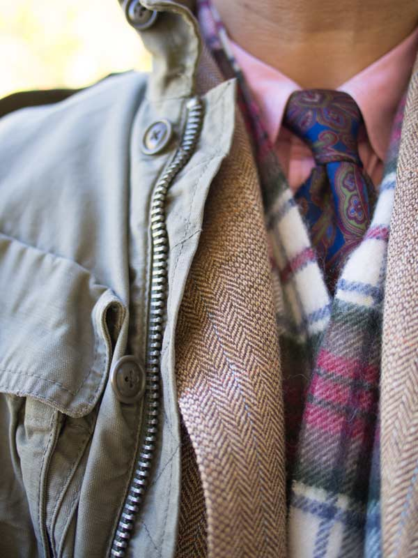 paisley pink tie and tweed winter
