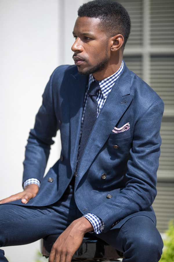 Chequered shirts with blue tie