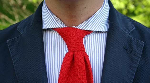 Classic blue shirt with red tie