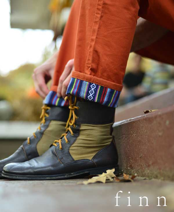 finn apparel - cuffed trousers - close-up