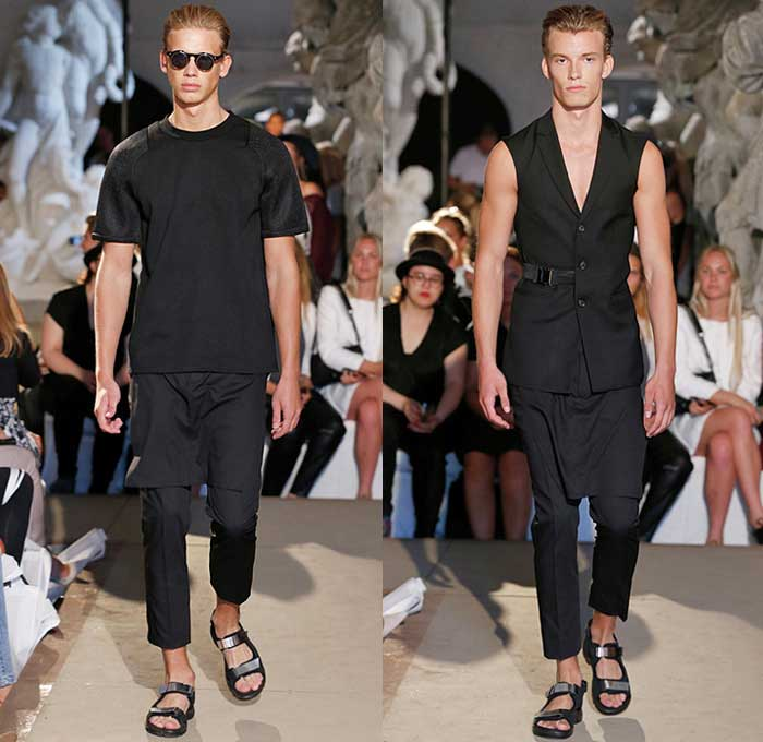 david-andersen-copenhagen-fashion-week-2015-spring-summer-mens-black-white-blazer-shorts-grosgrain-banded-strap-socks-sandals-biker-androgyny-bomber-03x