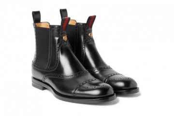 Brogue-Detailed Polished-Leather Chelsea Boots