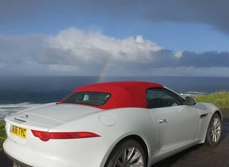 Jaguar F-type convertible causeway coastal Route Northern Ireland Rainbow