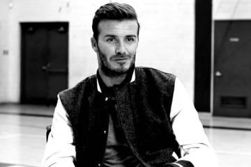 David Beckham sporting a baseball jacket