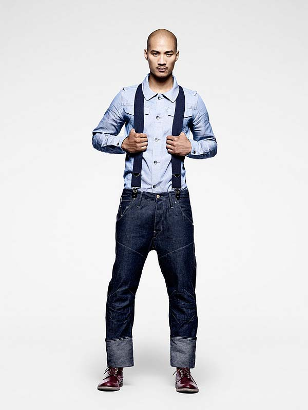 Fashion label G-Star shows of denim braces / suspenders to match the jeans.