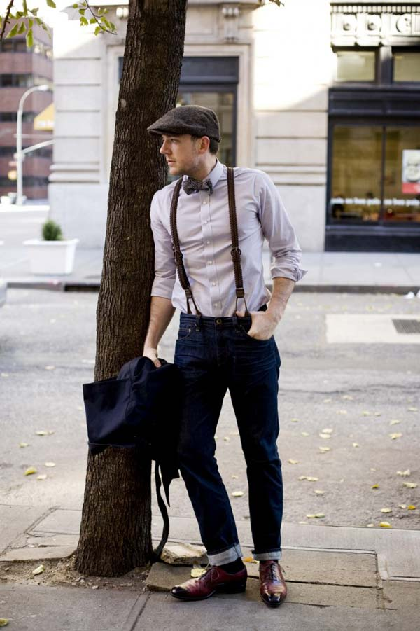 Vintage Leather braces / suspenders with bow tie and cool hat
