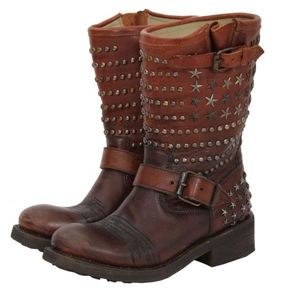 ASH - Tennessee Biker Boot Brown studs