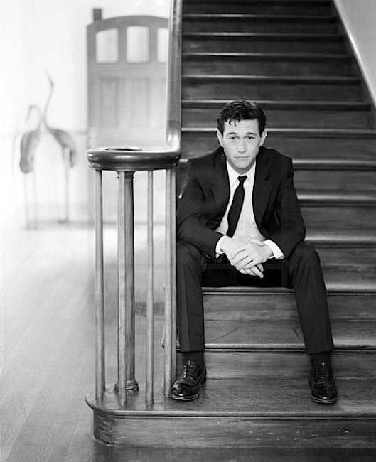 joseph gordon levitt - sitting at bottom of the stairs