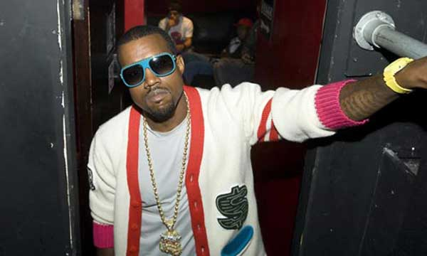Kanye West wearing a sports cardigan