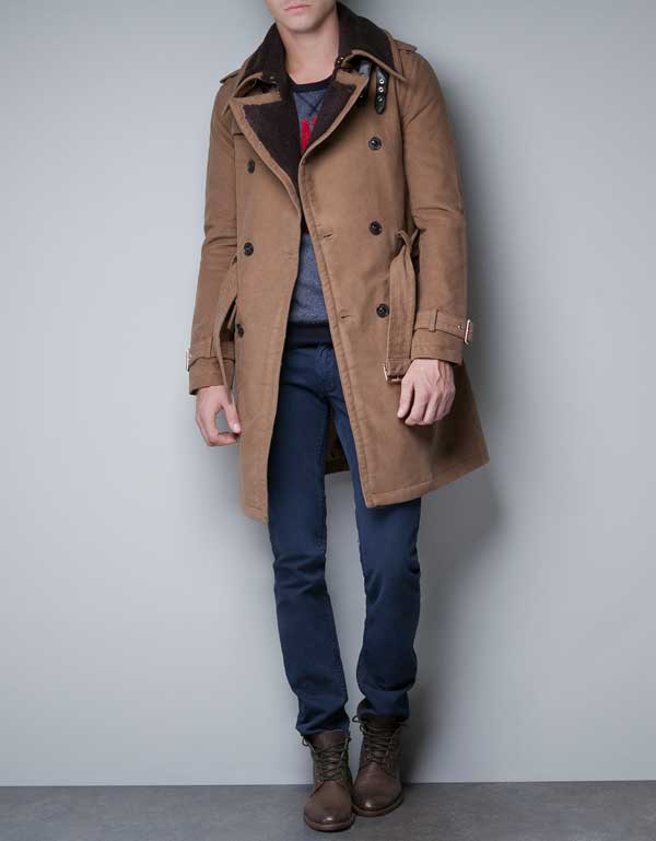 zara long winter coat beige for men