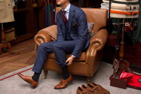 pulling up the socks - roll ups - double monk strap shoes