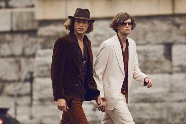 brown wool hat and velvet jackets