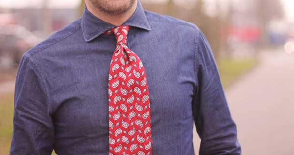 Ties for men - Red vintage paisley and chunky tie