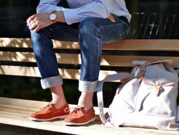 Boat shoes for men - Orange Suede