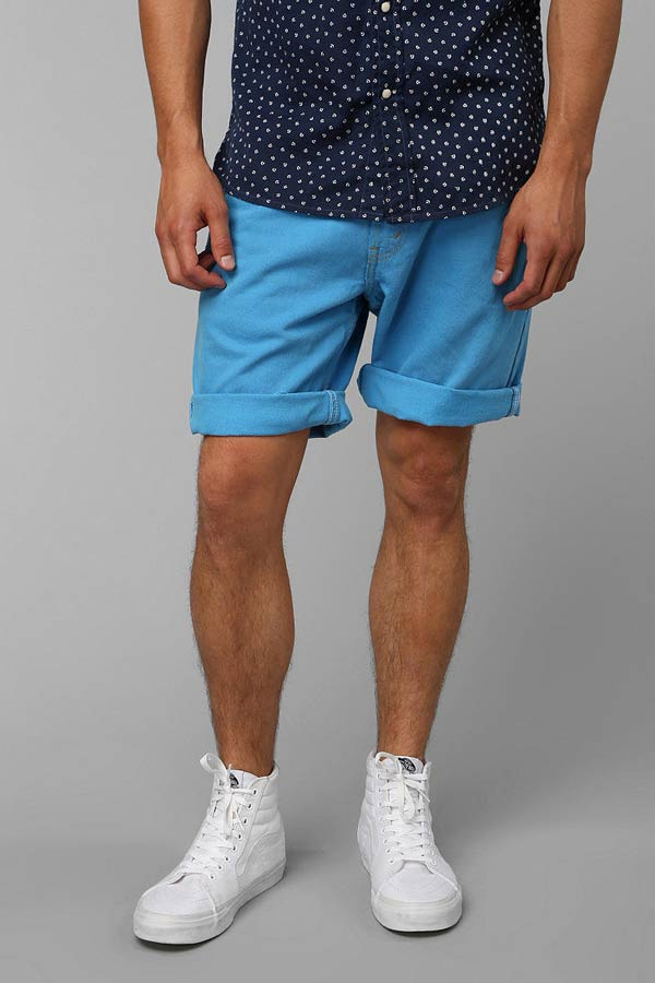 Cuffed shorts blue for men