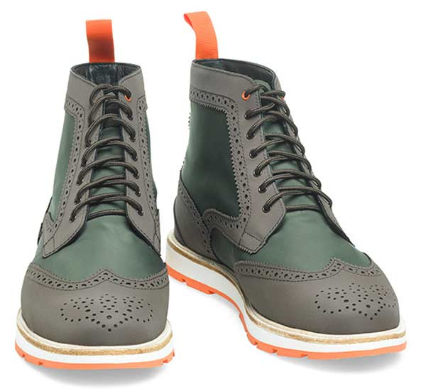 Brogue green lace ups for men