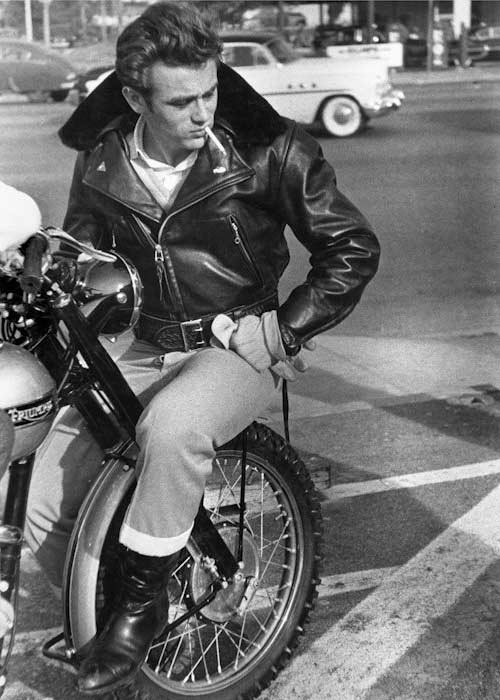 James Dean- Style Icon Leather Jacket & T- Shirt motorbike