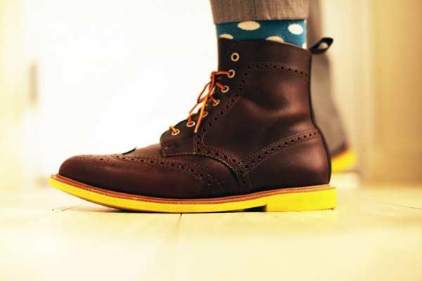 Mark McNairy boots brown leather with poka dot socks