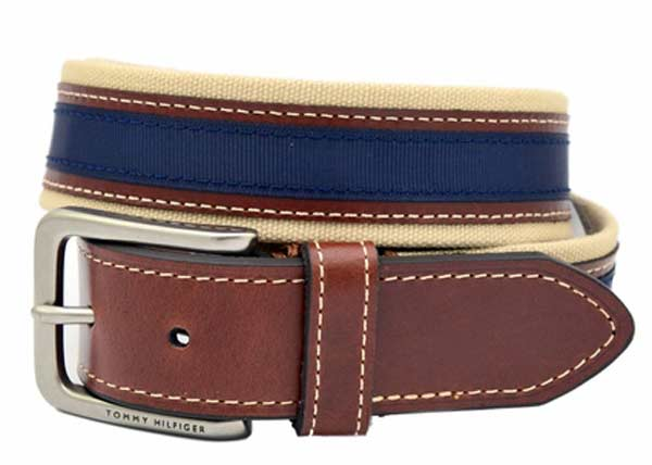 mens leather belts blue Tommy Hilfiger