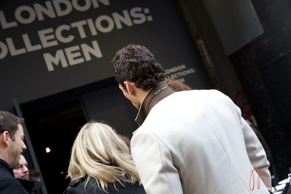 David Gandy - London Collections men 2014 Neil Fennell - White Overcoat (2)