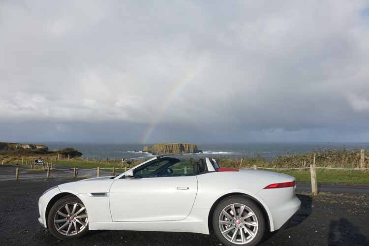 Jaguar F-type convertible causeway coastal Route Northern Ireland top down