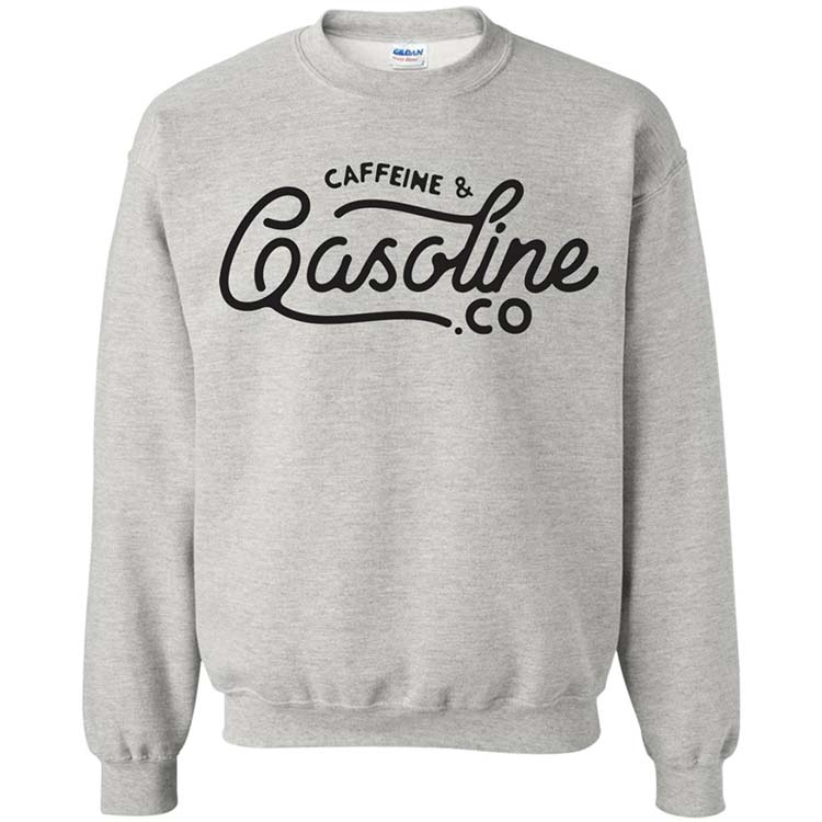 Caffeine  gasoline grey crewneck sweater