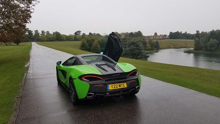 McLaren 570 Spyder Mantis Green Supercar Butterfly doors Blenheim Palace United Kingdom
