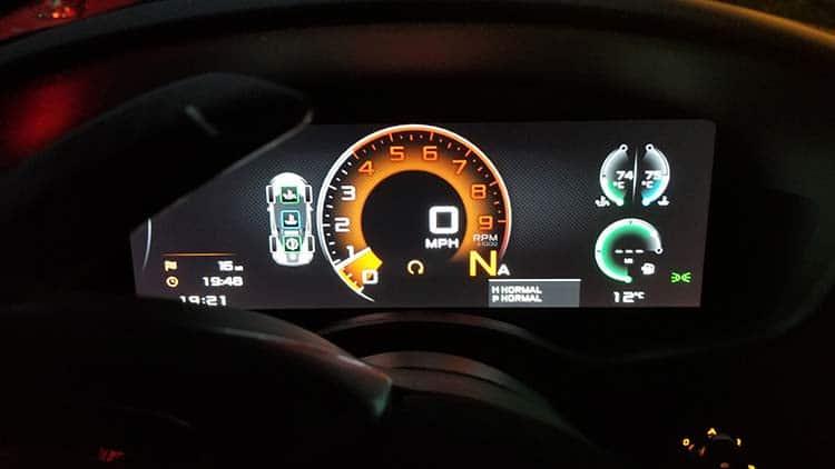 570s McLaren Mantis Green speedo